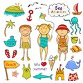 Beach set in doodle style graphic cartoon children ï ute sea animals accessories Royalty Free Stock Images