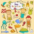 Beach set in doodle style graphic cartoon children ï ute sea animals accessories Royalty Free Stock Image