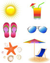 Beach Set. Vector Stock Photos