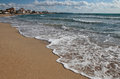 Beach shoreline with residentials Royalty Free Stock Photo