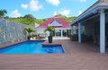 Beach side villa at flamands beach at st barts french west indies june on june the island is popular tourist destination Stock Image