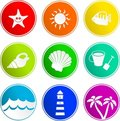 Beach sign icons Stock Photo