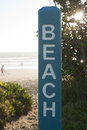 Beach sign post on a new zealand Stock Image