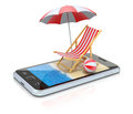 Beach in the smartphone d concept with chair umbrella and Royalty Free Stock Image
