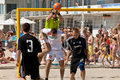 Beach soccer save Stock Photo