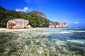 Beach source d argent at seychelles nature background Royalty Free Stock Photos