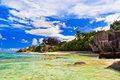 Beach source d argent at seychelles nature background Royalty Free Stock Photography