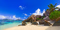 Beach source d argent at seychelles panorama of nature background Royalty Free Stock Photo