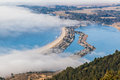 The beach stinson under fog on a sunny warm day bolinas lagoon Stock Image