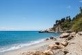 Beach and stones. Nerja, Spain Royalty Free Stock Photo