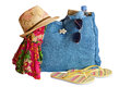 Beach stuff bag hat sunglasses and other isolated on white background Royalty Free Stock Image