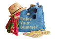 Beach stuff bag hat sunglasses and other isolated on white background Stock Image