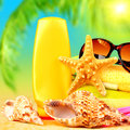 Beach stuff closeup still life of accessories on sea shore relaxation outdoors at luxury tropical resort day spa suntan and Royalty Free Stock Photos