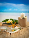 Beach style decoration various summer holiday items with blur on background Stock Images