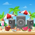 Beach summer party concept. Vector banner, poster, flyer design. Music loudspeakers, cocktails on beach bar counter Royalty Free Stock Photo