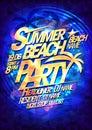 Beach summer party vector poster design