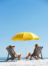 Beach summer umbrella Stock Photos