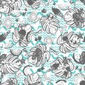 Beach summer vacation seamless vector pattern. White, grey and blue vintage style