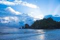 Beach and sunlight reflection dark blue shade Royalty Free Stock Photo