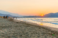 Beach on sunset in village kavros in crete island greece magical turquoise waters lagoons travel background Royalty Free Stock Photo