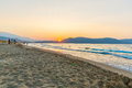 Beach on sunset in village kavros in crete island greece magical turquoise waters lagoons travel background Stock Image