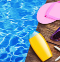 Beach supplies for the recreational on wooden floor Royalty Free Stock Images