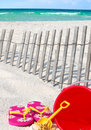 Beach supplies tropical setting Royalty Free Stock Photos