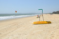 Beach surf rescue surfboard flag and chair Royalty Free Stock Photography