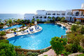 The beach with swimming pools at luxury hotel sharm el sheikh egypt Royalty Free Stock Photos