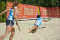 Beach tennis world team championship moscow russia july mixed double of portugal in the match against japan during itf japan won Royalty Free Stock Photography