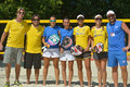 Beach tennis world team championship moscow russia july teams italy blue shirts and brazil before the final match during itf italy Royalty Free Stock Images
