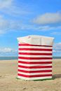Beach tent borkum red and white striped at wadden island Royalty Free Stock Images