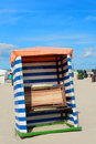 Beach tent borkum red and white striped at wadden island Royalty Free Stock Photos