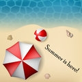 Beach text frame with umbrella and ball shells in sand water texture eps Stock Images