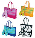 Beach tote bag and flip flop Stock Images