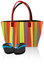 Beach Tote and Flip Flops Royalty Free Stock Photos