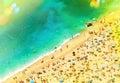 Beach With Tourists, Sunbeds A...