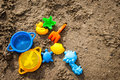 Beach toys colorful for kids in sand Royalty Free Stock Photography