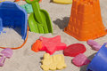 Beach toys colorful plastic in the sand Stock Photography