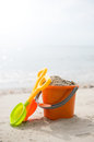 Beach toys colorful summer on sandy Royalty Free Stock Image