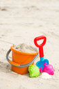 Beach toys colorful summer on sandy Stock Photos