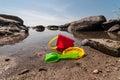 Beach toys summer in the sand Stock Photos