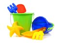 Beach toys toy sand pails and shovels over a white background Stock Photo