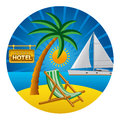 Beach travel concept illustration of Royalty Free Stock Images