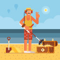 Beach Treasure Hunter with Metal Detector Royalty Free Stock Photo