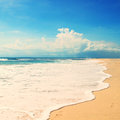 Beach on a tropical island retro vintage effect Royalty Free Stock Photography
