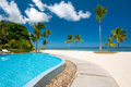 Beach with tropical pool and palms Stock Photos