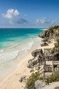 Beach in tulum mexico sandy yucatan Royalty Free Stock Photos