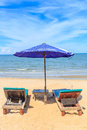 The beach two chair on beautiful Royalty Free Stock Photo