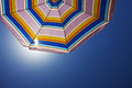 Beach umbrella bottom view of an sunshade Royalty Free Stock Photos